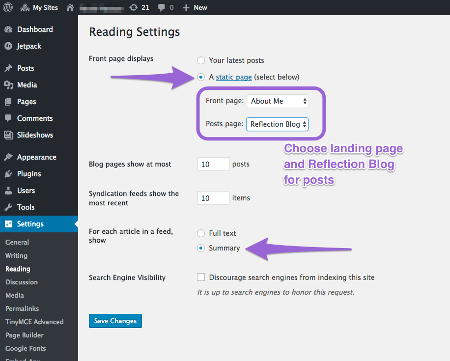 This screenshot shows how to set a front page via the settings option.