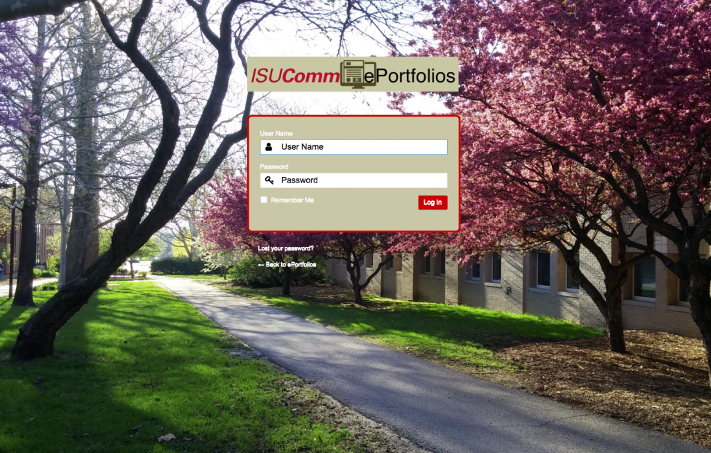 Screenshot of login screen for ISUComm eportfolios